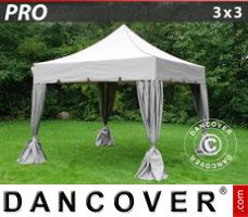 "Tenda Eventos PRO ""Peaked"" 3x3m Latte, incl. 4 cortinas decorativas"