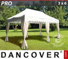 "Tenda Eventos PRO ""Wave"" 3x6m Branco, incl. 6 cortinas decorativas"