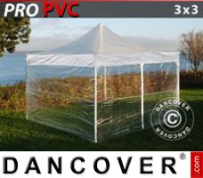 Tenda Eventos PRO 3x3m Transparente, incl. 4 paredes laterais