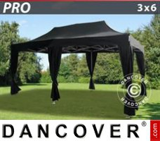 Tenda Eventos PRO 3x6m Preto, inclui 6 cortinas decorativas