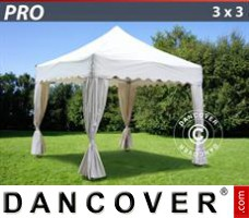 "Tenda Eventos PRO ""Wave"" 3x3m Branca, incl. 4 cortinas decorativas"