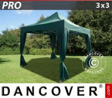 Tenda Eventos PRO 3x3m Verde, incl. 4 cortinas decorativas