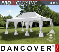 Tenda Eventos PRO 4x6m Branca, incl. 8 cortinas decorativas
