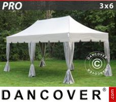 "Tenda Eventos PRO ""Peaked"" 3x6m Latte, incl. 6 cortinas decorativas"