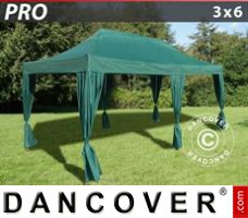 Tenda Eventos PRO 3x6m Verde, inclui 6 cortinas decorativas
